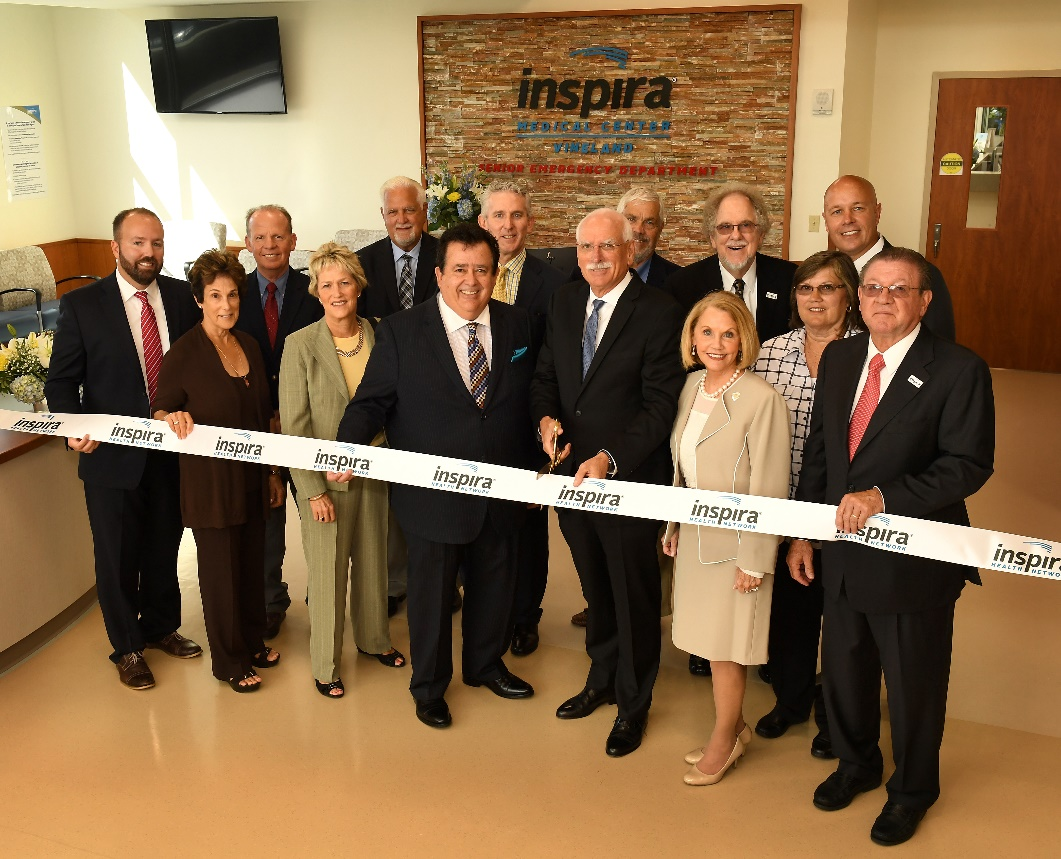 Inspira leaders and trustees cut ribbon for region's first emergency department tailored to seniors.