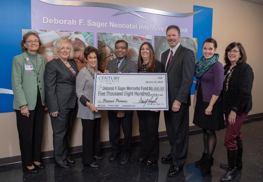 Inspira and Century Savings Bank staff pictured at Deborah F. Sager Neonatal Intensive Care Unit