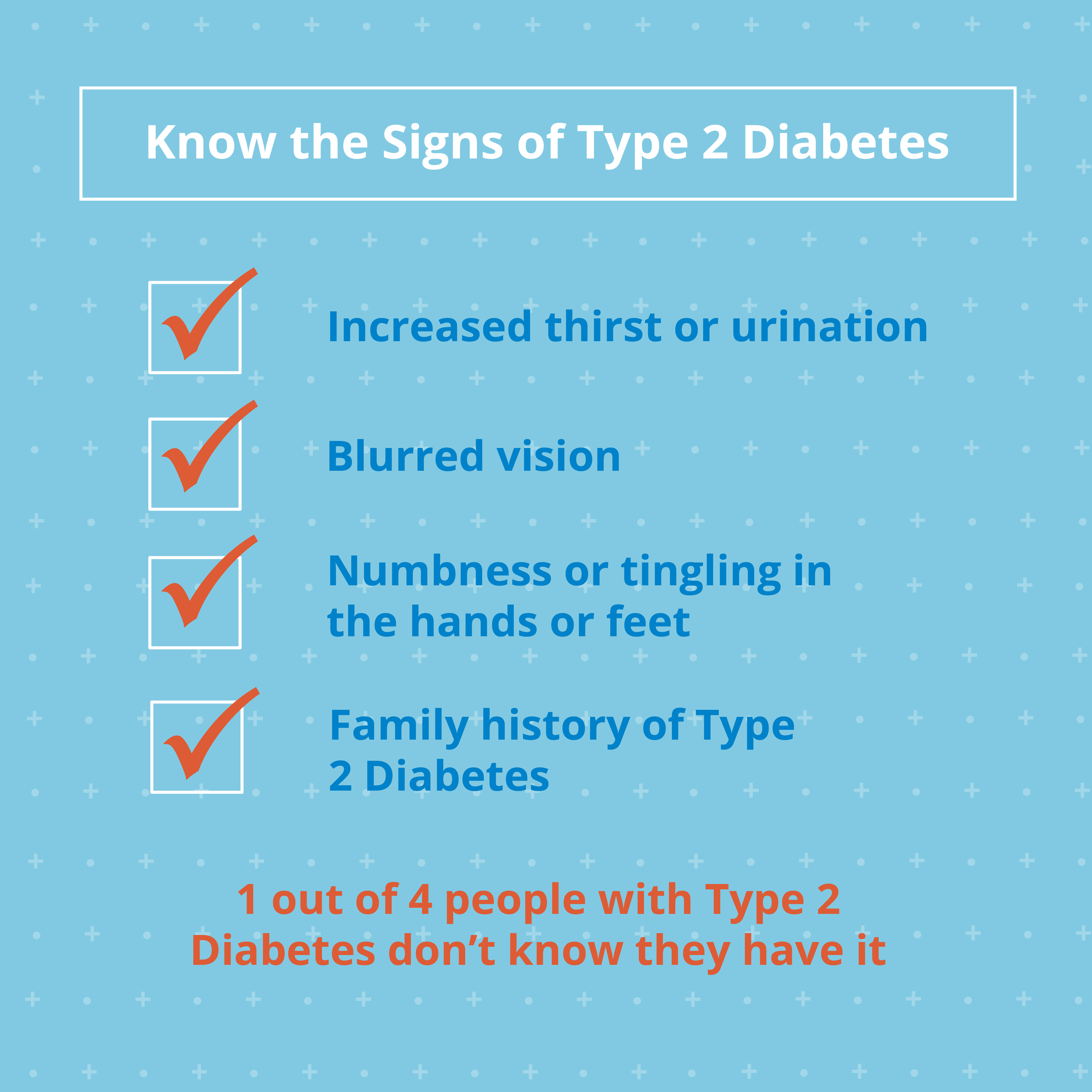 Know the signs of type 2 diabetes: increased thirst or urination, blurred vision, numbness in hands or feet, family history of type 2 diabetes