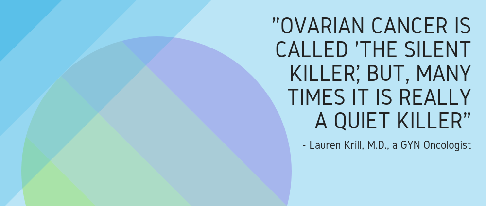 "Quote - ""Ovarian cancer is called 'The Silent Killer', but, many times it is really a quiet Killer"""