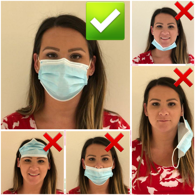 woman wearing a mask incorrectly four ways and the correct way