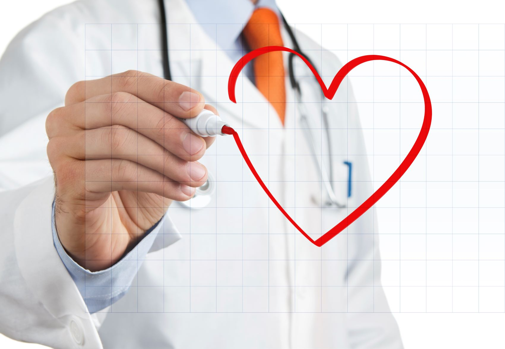 medical provider drawing a heart