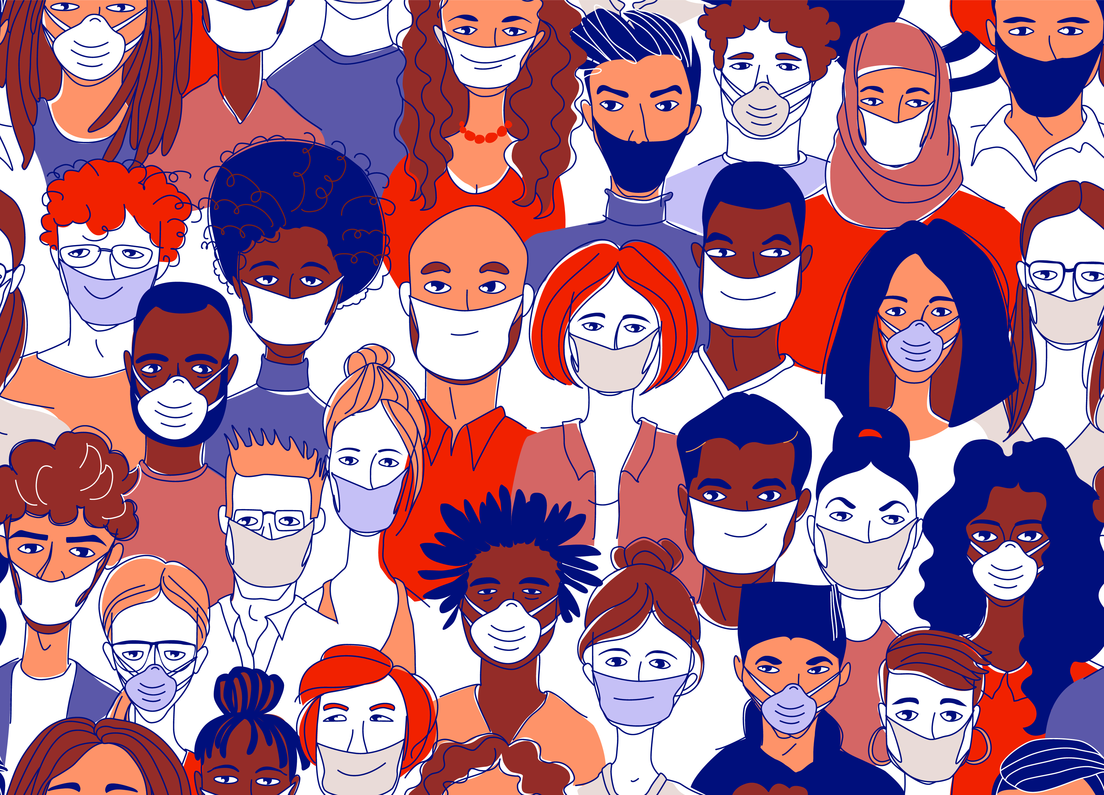 group of diverse people wearing masks