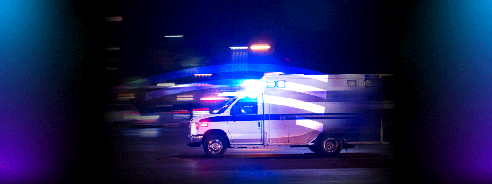 Moving ambulance with flashing lights