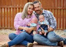 Renee Suriani, her husband and their twin boys