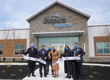 Inspira Health Center Woolwich - (Left to right: Ron Rossi, Chairman Inspira Health Board; Mayor Vernon Marino of Woolwich Township; Richard Jaramillo, Chief of Police Woolwich Township; Amy Mansue, President and CEO Inspira Health;  Alka Kohli, Executive VP and Chief Population Health Clinical Officer; David Yhlen, Chief Operating Officer and VP of Ambulatory Services)